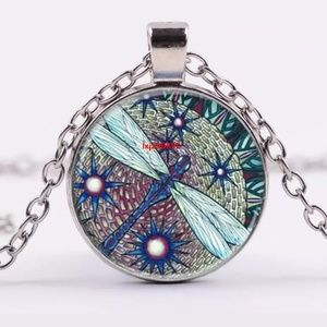 Jewelry - Blue Dragonfly & Flowers Silver & Glass Necklace